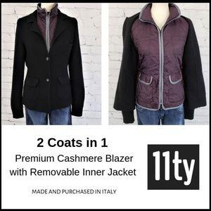 11TY CASHMERE Knit Blazer + Removable Zip Jacket